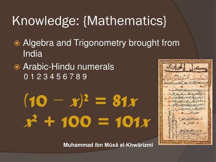 Knowledge: {Mathematics}