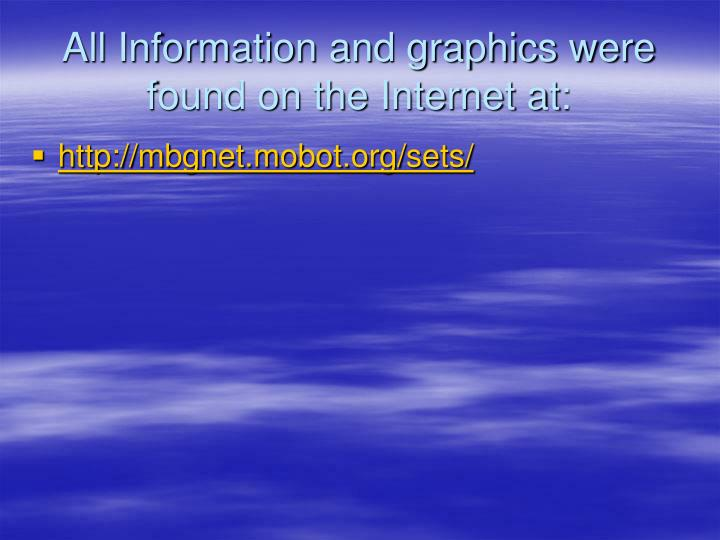 All Information and graphics were found on the Internet at: