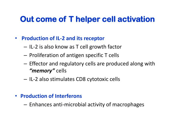 Out come of T helper cell activation