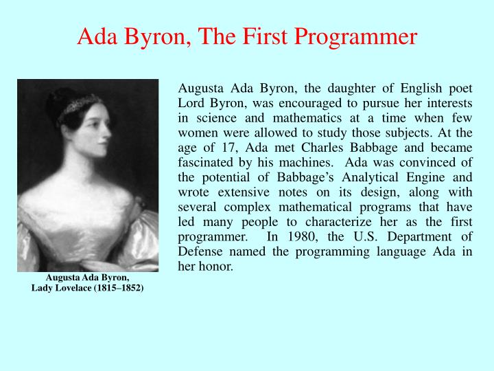 Ada Byron, The First Programmer