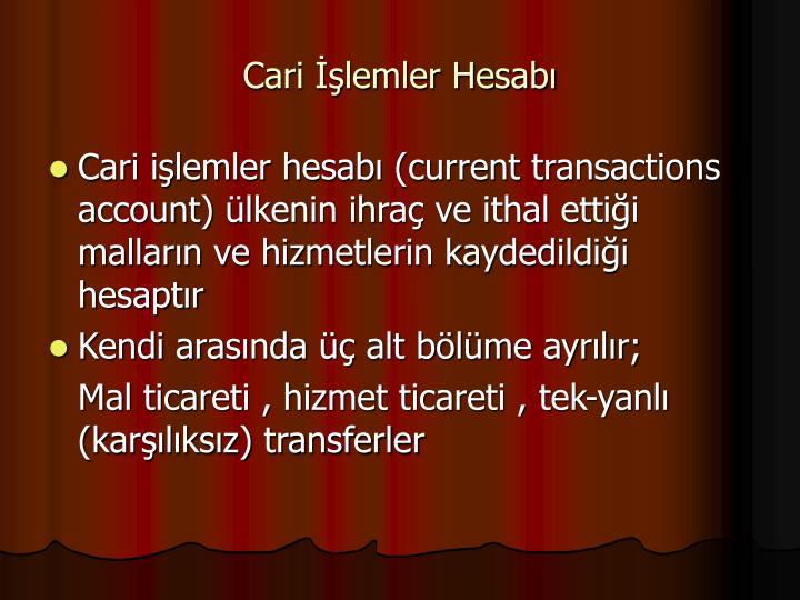 Cari lemler Hesab