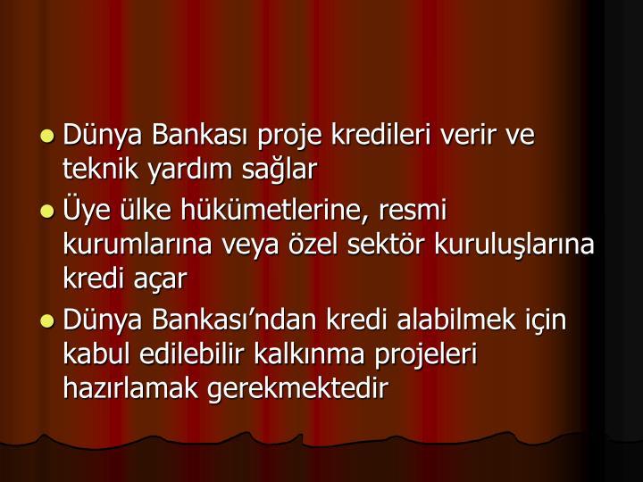 Dnya Bankas proje kredileri verir ve teknik yardm salar