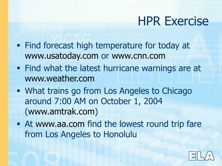 HPR Exercise