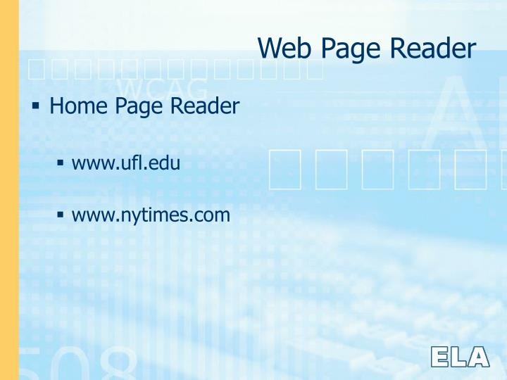 Web Page Reader