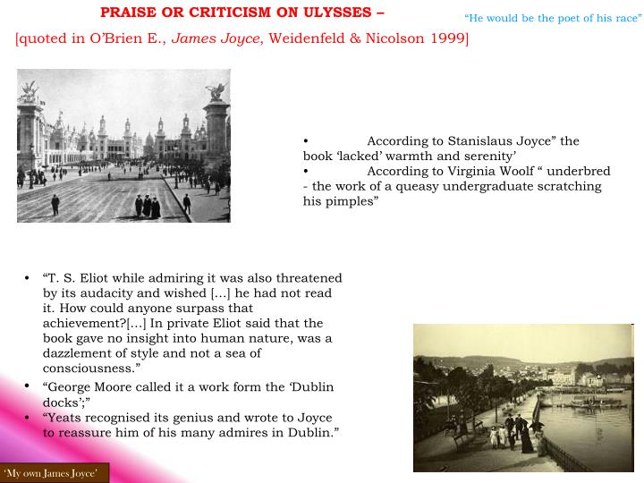 PRAISE OR CRITICISM ON ULYSSES –