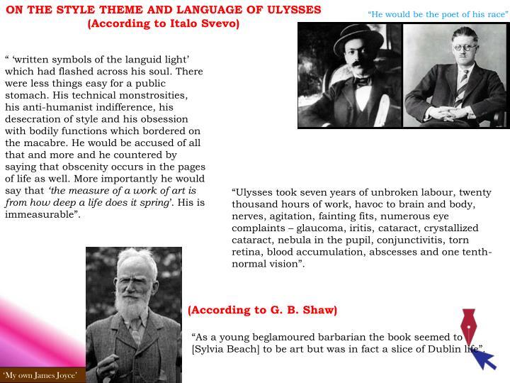 ON THE STYLE THEME AND LANGUAGE OF ULYSSES (According to Italo Svevo)