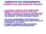 administrative arrangements committees and working groups