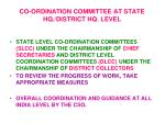 co ordination committee at state hq district hq level