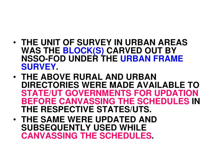 THE UNIT OF SURVEY IN URBAN AREAS WAS THE