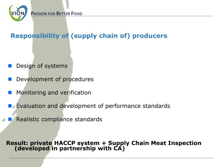 Responsibility of (supply chain of) producers
