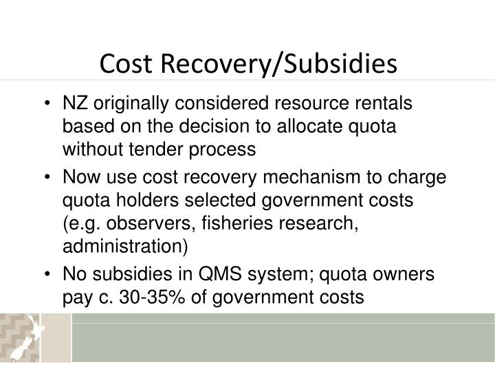 Cost Recovery/Subsidies