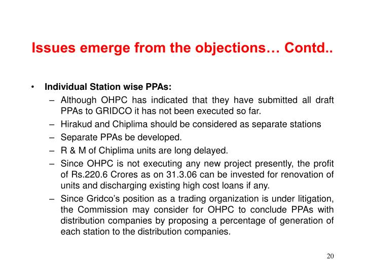 Issues emerge from the objections… Contd..