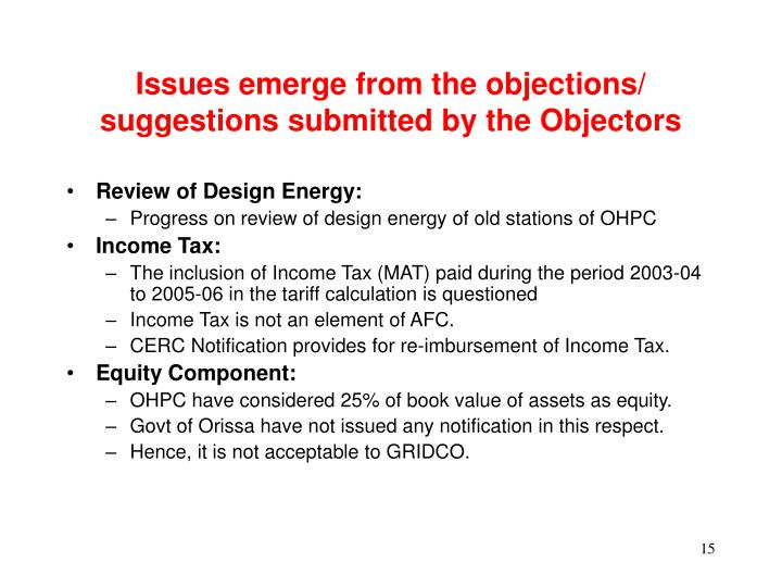Issues emerge from the objections/ suggestions submitted by the Objectors