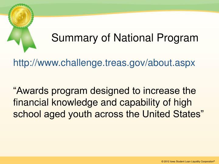 Summary of National Program