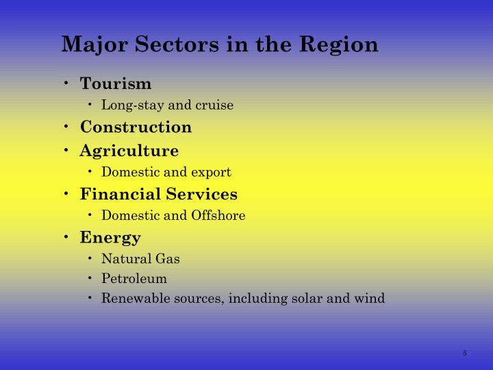 Major Sectors in the Region