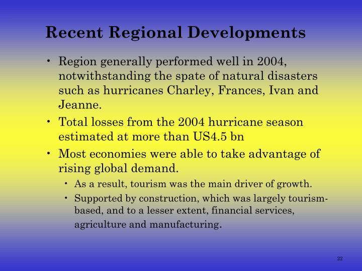 Recent Regional Developments