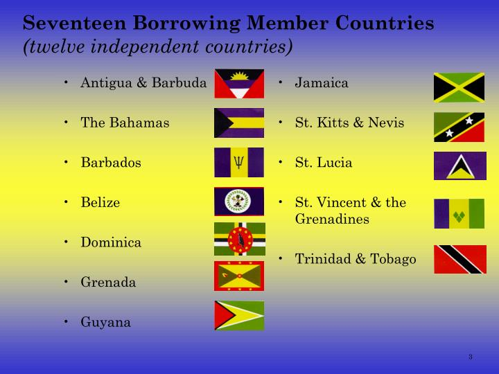Seventeen borrowing member countries twelve independent countries