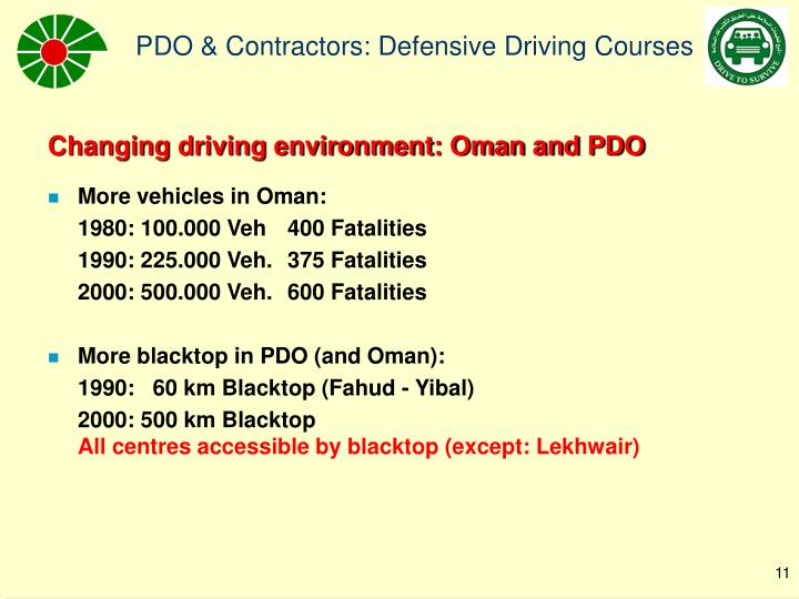 Changing driving environment: Oman and PDO