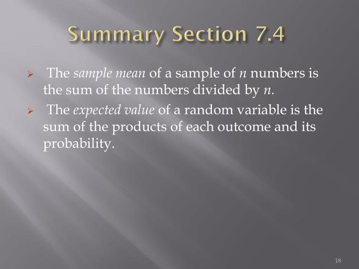 Summary Section 7.4
