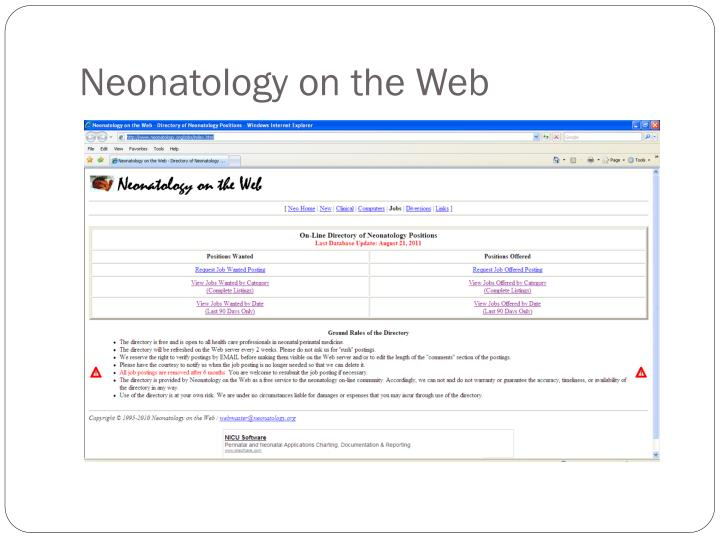 Neonatology on the Web