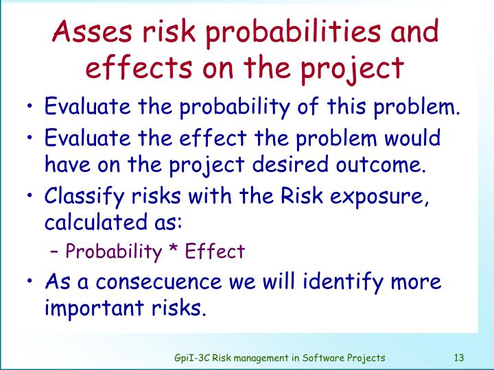 Asses risk probabilities and effects on the project