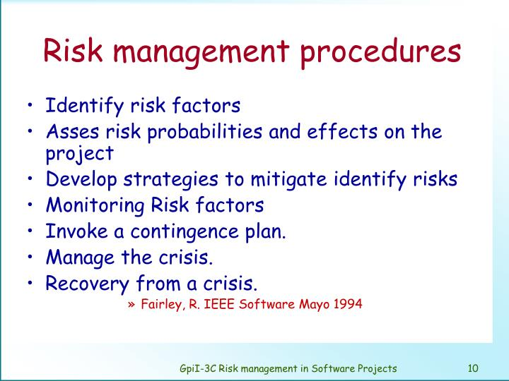 Risk management procedures
