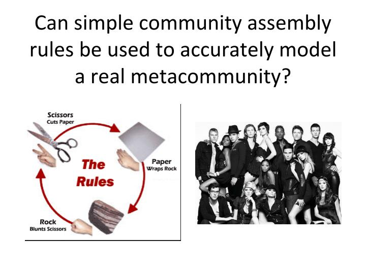 Can simple community assembly rules be used to accurately model a real metacommunity