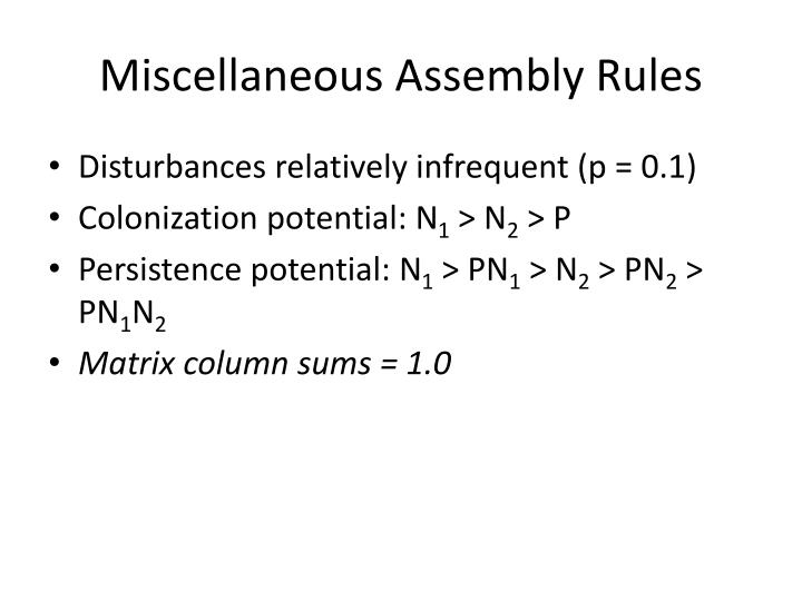 Miscellaneous Assembly Rules