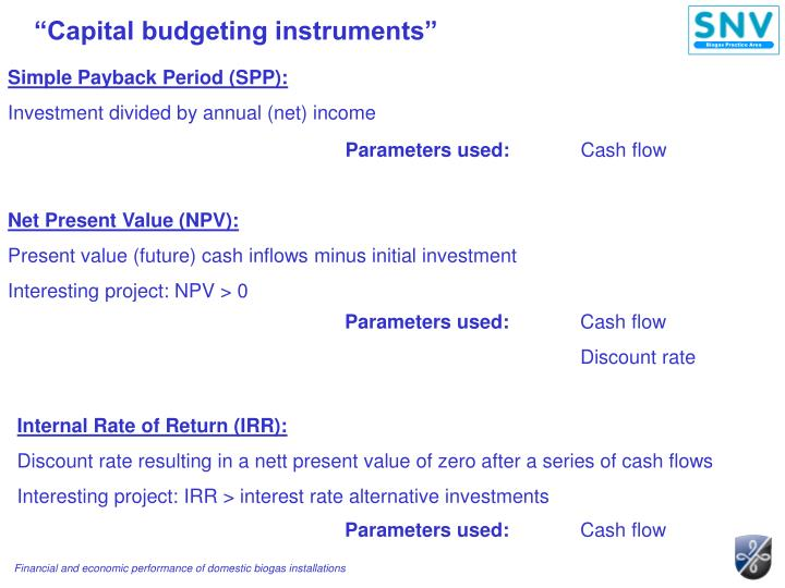 """Capital budgeting instruments"""