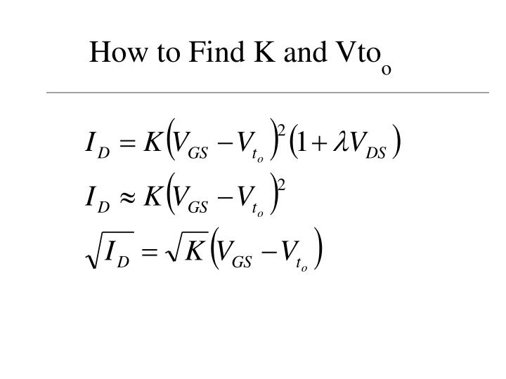 How to find k and vto o