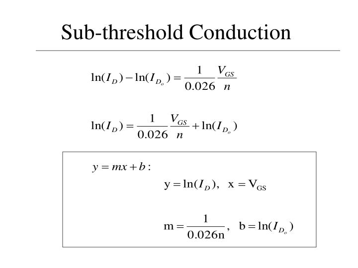Sub-threshold Conduction
