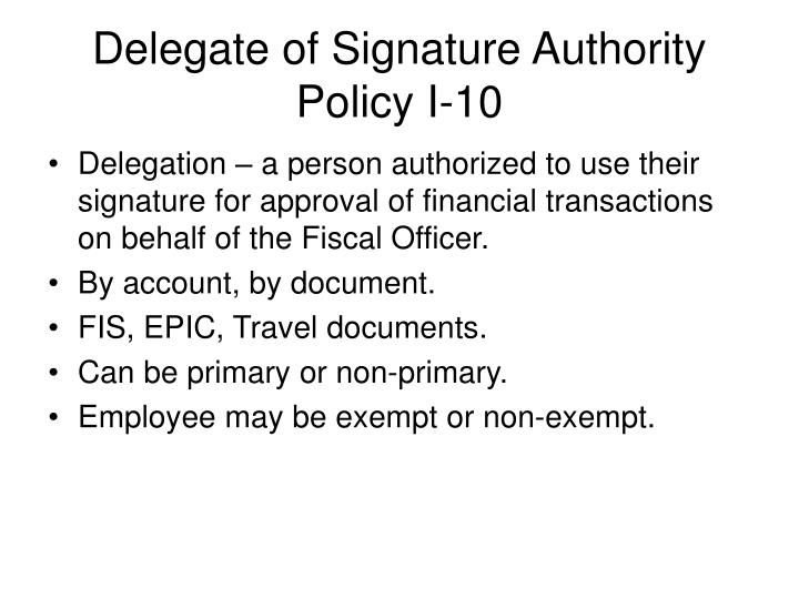 Delegate of Signature Authority