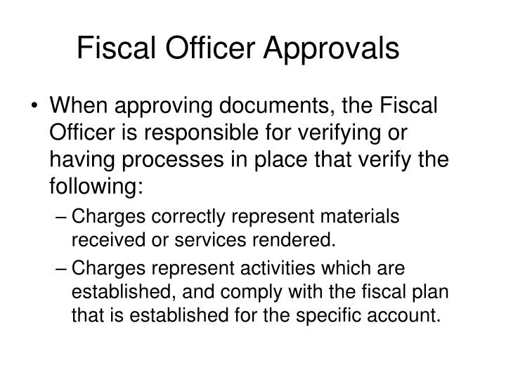 Fiscal Officer Approvals