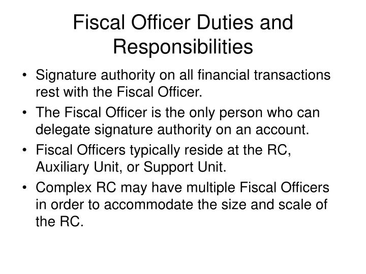 Fiscal Officer Duties and Responsibilities