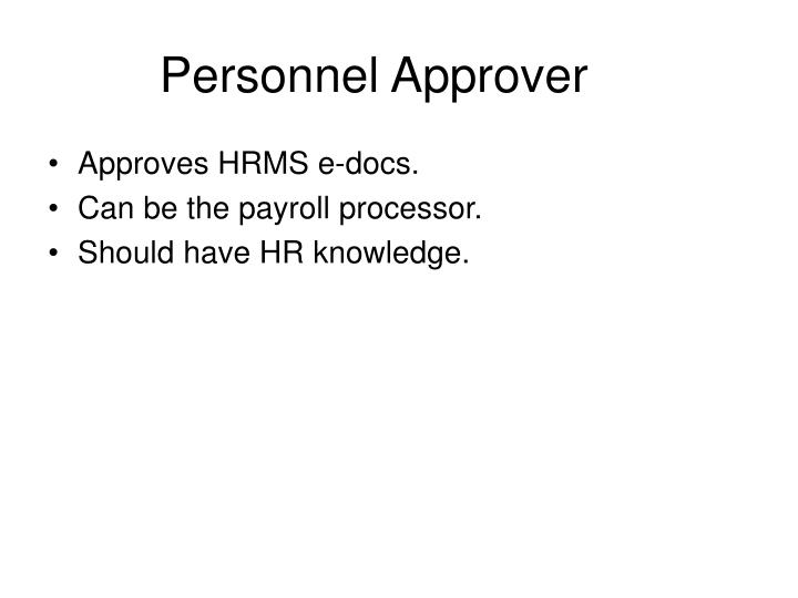 Personnel Approver