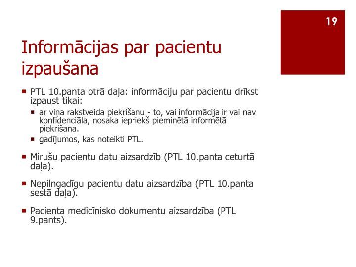 Informācijas par pacientu izpaušana