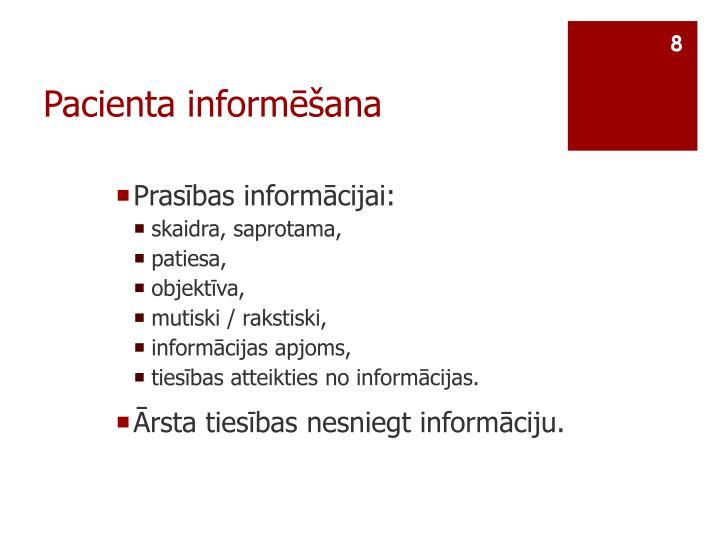 Pacienta informēšana
