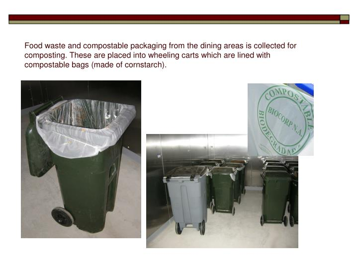 Food waste and compostable packaging from the dining areas is collected for composting. These are placed into wheeling carts which are lined with compostable bags (made of cornstarch).
