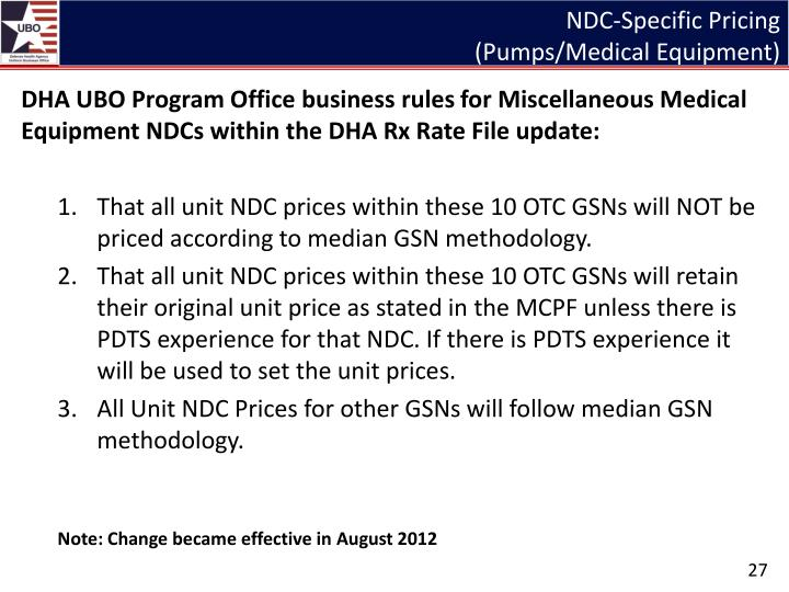 NDC-Specific Pricing