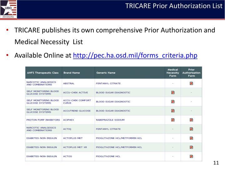 TRICARE Prior Authorization List