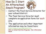 how do i start an afterschool snack program