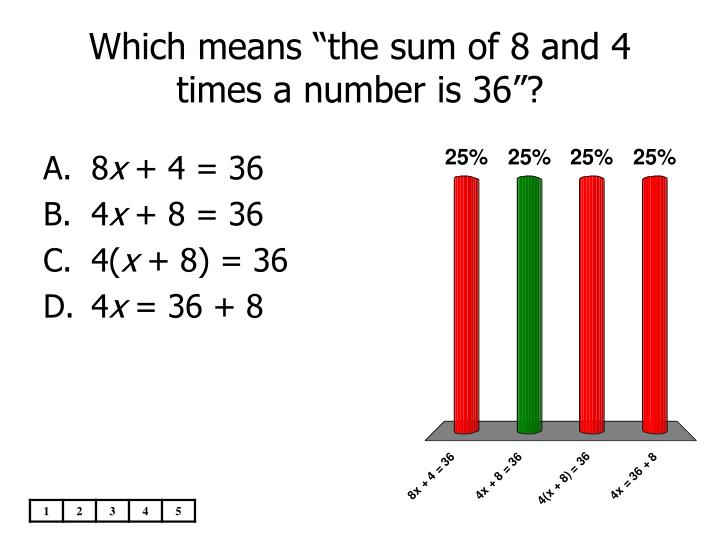 "Which means ""the sum of 8 and 4 times a number is 36""?"