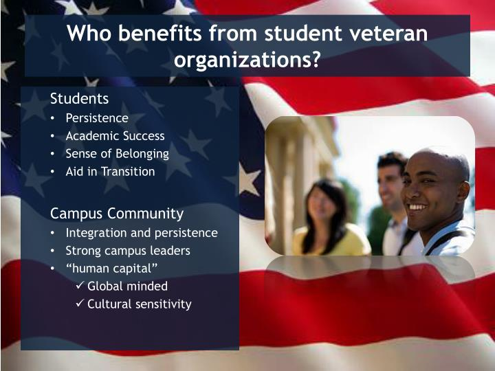Who benefits from student veteran organizations?