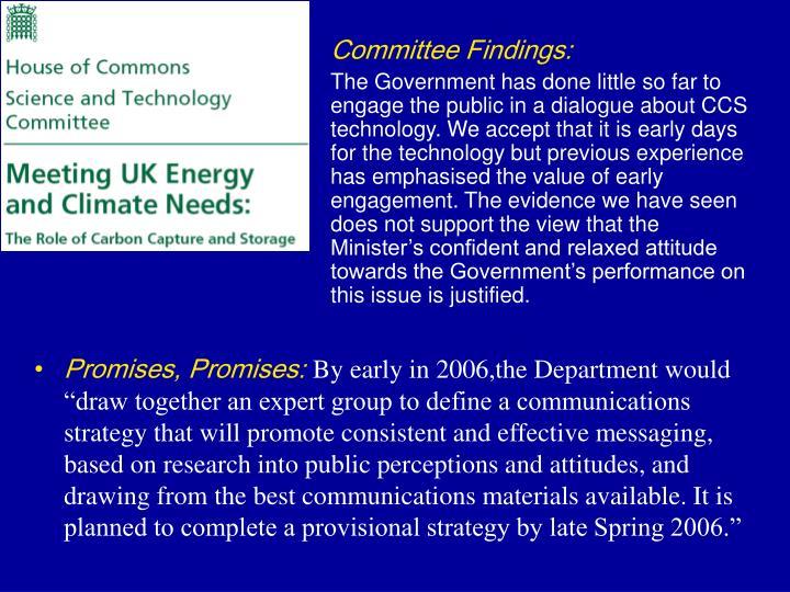 Committee Findings: