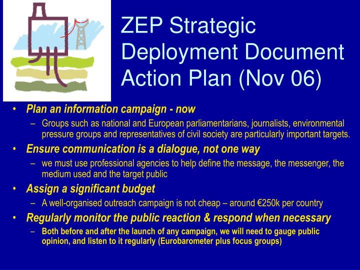 ZEP Strategic Deployment Document Action Plan (Nov 06)
