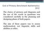 end of primary benchmark mathematics 20123