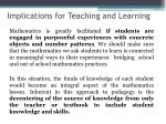 implications for teaching and learning