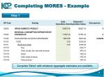 completing mores example