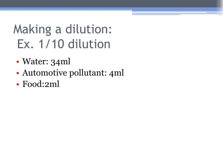 Making a dilution: