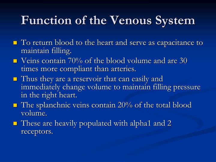 Function of the Venous System